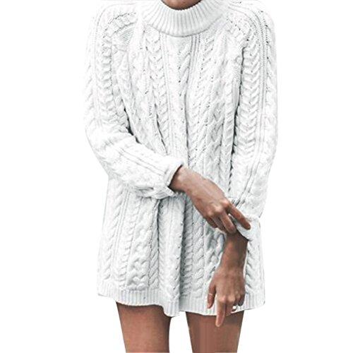 Sexy Maglioni Vestito, Reasoncool Manica lunga donne lavorato a maglia Pullover allentato maglione ponticello Tops Maglieria (M, Bianco)