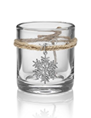 Glass Snowflake Tealight Holder