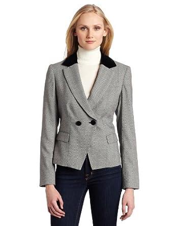 (2折)AK Anne Klein Women's Herringbone 2 Button Blazer女士西装,仅售$36.97
