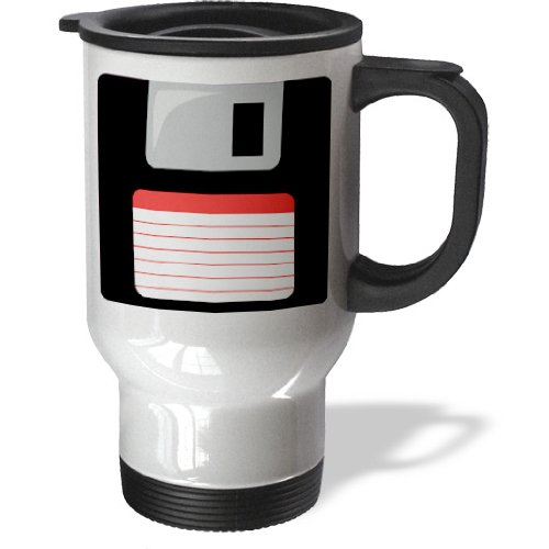3Drose Retro 90S Computer Black Floppy Disk Design With Red Label, Stainless Steel Travel Mug, 14-Oz