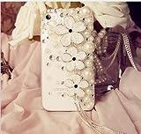 iPhone5s 5c ケース カバー DecoQueen オリジナル商品 ブランド パール キラキラ デコ電 ラインストーン ホワイト H034-040 アイフォン セレブ愛用 イヤホンピアスセットをプレゼント (iphone5c)