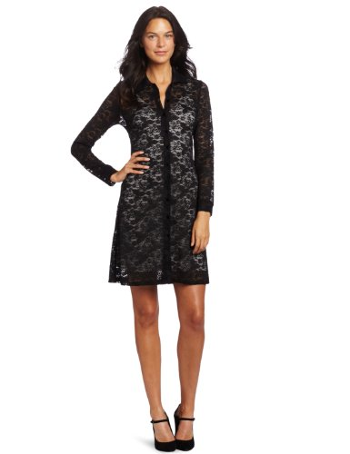Only Hearts Women's Sara's Lace Button Front Shirt Dress, Black/Cream, Small