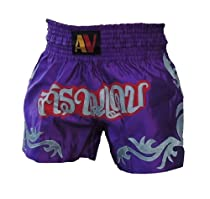 AV Thai Boxing Shorts, Tattoo, Purple, Size: Small