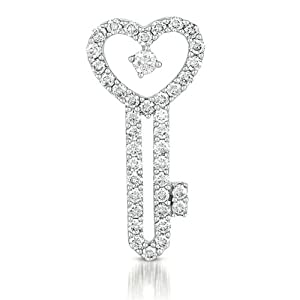 14k .44 Dwt Diamond White Gold Key Charm - JewelryWeb