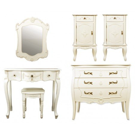 Six Piece Rococo Style, Bedroom Furniture Set in Ivory