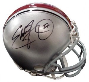 Eddie George Autographed/Hand Signed Ohio State Buckeyes Replica Mini Helmet eddie and dog