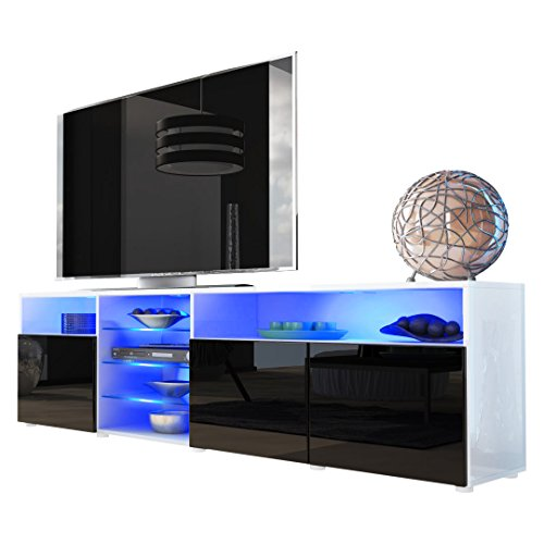 Tv Stand Unit Granada V2 In White / Black High Gloss