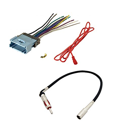 AFTERMARKET CAR STEREO RADIO RECEIVER WIRING HARNESS + RADIO ANTENNA ADAPTER FOR SELECT CHEVROLET AND PONTIAC VEHICLES (Chevy Wire Harness For Car Stereo compare prices)