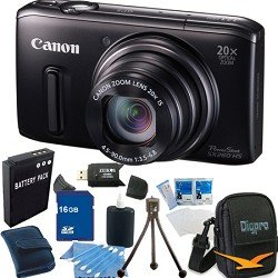 Canon PowerShot SX260 HS 12.1 MP CMOS Digital Camera with 20x Image Stabilized Zoom 28mm Wide-Angle Lens and 1080p Full-HD Video (Black) Super Bundle With 16GB Secure Digital High-Capacity Memory Card, DigPro Deluxe Case, Reader, NB-6L Battery And More