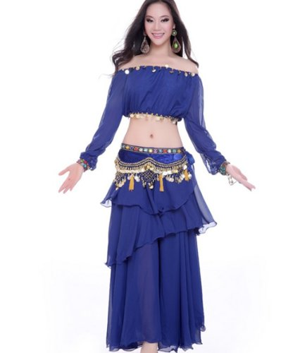 Dance Fairy Royal Blue belly dance Upscale shows clothes suit(3 items)
