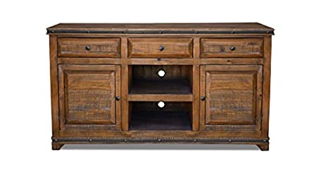 Crafters & Weavers Rustic Reclaimed Solid Wood TV Cabinet