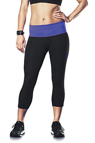 New Adidas Women's Performer Mid-Rise Three-Quarter Tights Black/Amazon Purple Medium