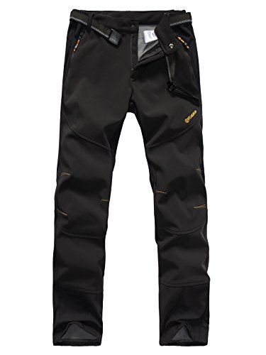 Mens Waterproof Outdoor Softshell Pants ONE SIDE BRUSH Polar Fleece 1501 Black Large (Cycling Rain Pants Men compare prices)