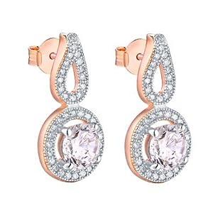 Rose Gold Solitaire Earrings 14K Finish Cubic Zirconia Dangling Design Womens