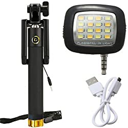 Novo Style Ultra Portable No Battery Charging Premium Sturdy Design Best Pocket Sized Selfie Stick With 16 LED Selfie Night Flash Light Accessory Combo