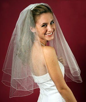 Wedding  Bridal Veil : 2-Layer, Shimmering Veil - Pencil Edge