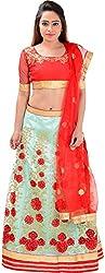 Panchi Women's Turquoise and Red Net Lehenga (P-Jalsa-3089)
