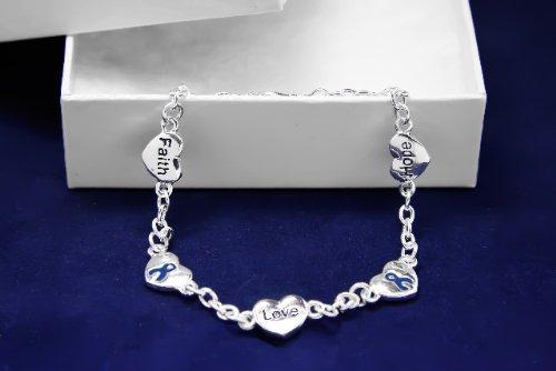 Dark Blue Ribbon Bracelet-Hope, Faith, Love (18 Bracelets)
