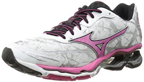 Mizuno Women's Wave Creation 16 Running Shoe, White/Fuchsia Purple, 9 B US