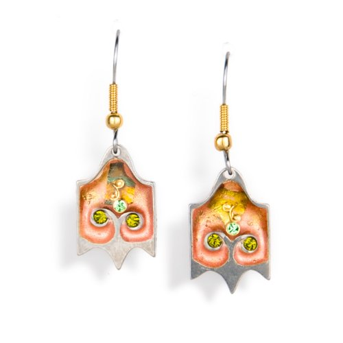 Peach & Green Flower Earrings from the Artazia Collection #1202C GE OE