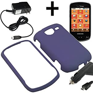 BW Hard Shield Shell Cover Snap On Case for Verizon Samsung Brightside U380 + Car + Home Charger-Purple