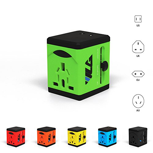 #1 Rated Travel Adapter And Charger - Usb Charging Ports - Super Fast Charging - All International Standard Cell Phone/Desktop/Laptop/Touch Screen Tablet/Computer/Gps Chargers - Lime Green