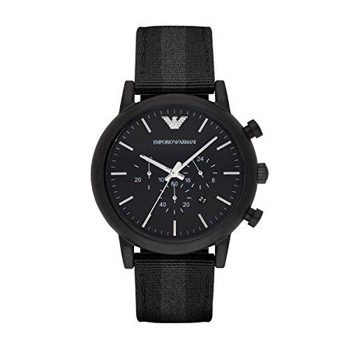 Emporio Armani AR1948 - Reloj de hombre con cronógrafo (mecanismo de cuarzo, cuero), color plateado y negro