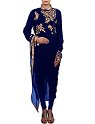Kalki Fashion Blue Suit Featuring With Zardosi And Cowl Drape Only On Kalki