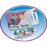 Charles Leonard Inc. Map Pins and Tacks - Reusable Box - 3/8-Inch Head - Assorted - 50 per Box (79510)