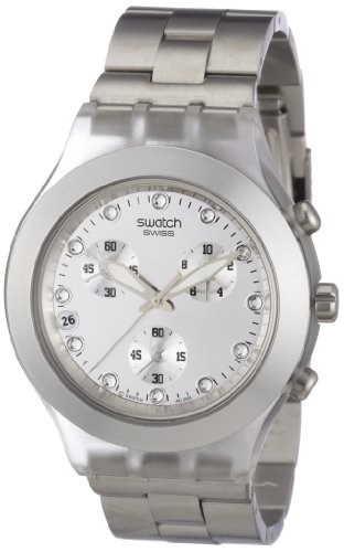 Swatch Mens Chronograph Watch Core Collection Full-Blooded Silver SVCK4038G