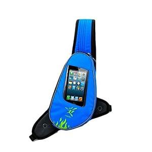 【ノーブランド品】ジョギングポーチ ランナーポーチ イヤホンの専用穴付 2点固定式(青) NICEANDKIS JB-1