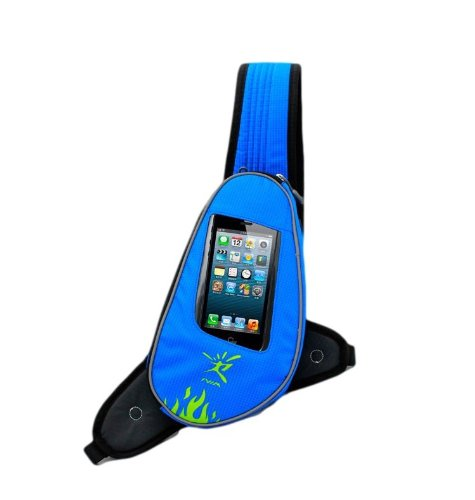 【ノーブランド品】ジョギングポーチ ランナーポーチ 2ポジション ランニング ショルダータイプ イヤホンの専用穴付 2点固定式(青)