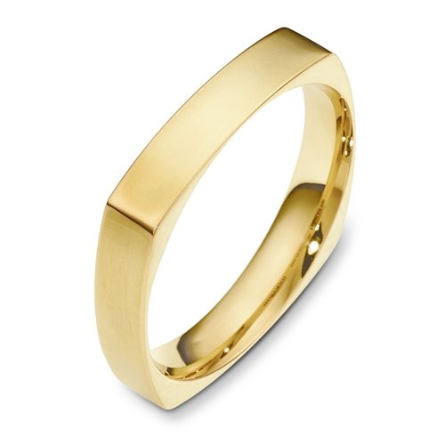 14K Yellow Gold, Square Comfort 4MM Wedding Band (sz 4.5)