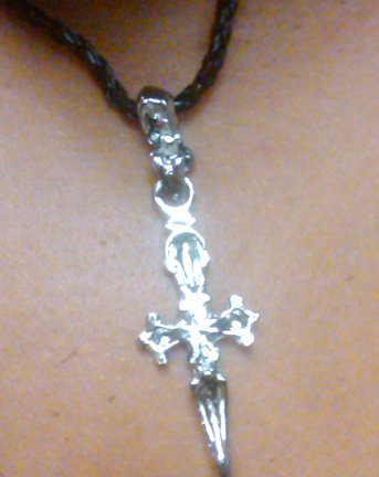 Cord Necklace with Pewter Pirate Dagger Pendant Costume Accessory