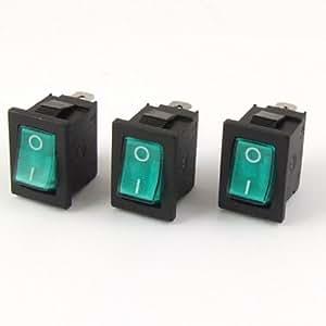 3pcs Green Light ON/OFF I/O SPST Snap in Rocker Switch 3 Pin 6A/250V 10A/125V AC