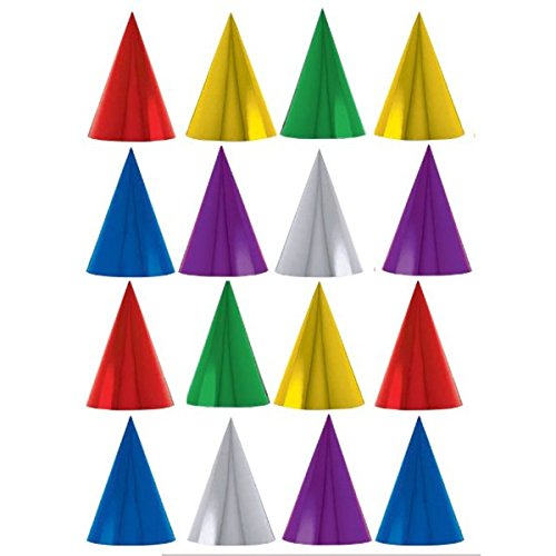 16 x Assorted Colour Classic Foil Party Cone Hats