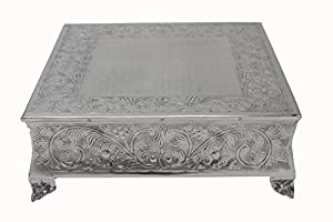 """Classic Beautiful Design! Silver Wedding Square Cake Stand 12"""" Strongly Built!"""