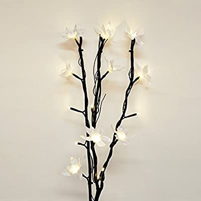 Modern Decorative Twig Branch Lights With Elegant Flowers