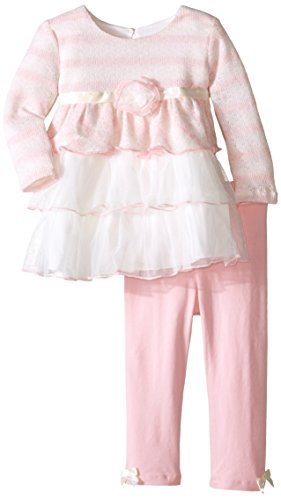 Bonnie Baby Baby Girls' Triple Mesh Tiered Top Legging Set, Pink, 12 Months