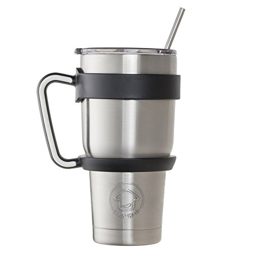 Livin' Well Tumbler Rambler Mug– 30oz Stainless Steel Tumbler Set Includes Handle, Lid and Straws – Double Walled and Vacuum Sealed - BLACK