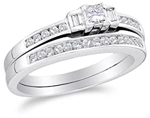 Bridal Engagement Ring With Matching Wedding Band Two 2 Ring Set