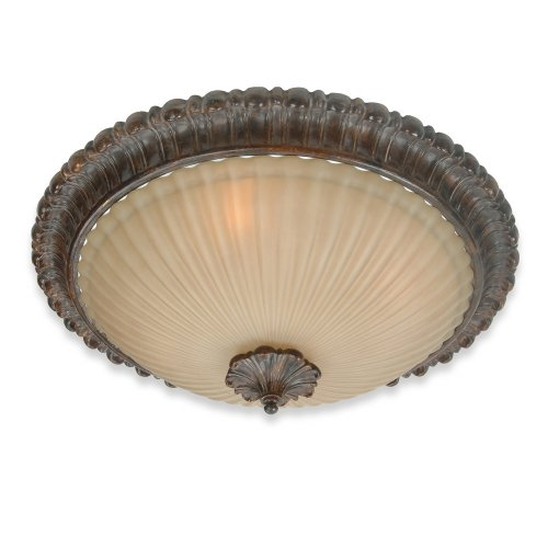 Royce Lighting RFM2223GM-24 Verona Flush Mount Ceiling Fixture Palladio Bronze with Iridescent Alabaster Globe