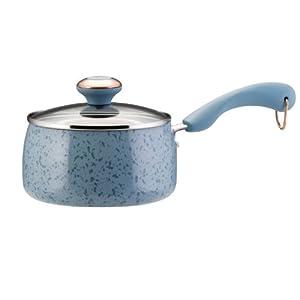 Paula Deen Signature Porcelain 2-Qt Saucepan, Aqua Speckle