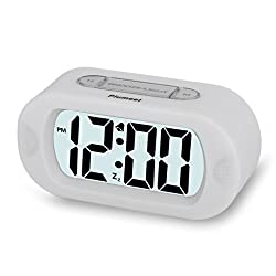 Plumeet Digital Large LCD Easy Setting Travel Alarm Clock with Snooze Good Backlight of 3 AAA Batteries Powered (White)