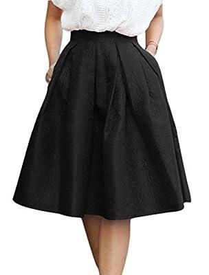 Allegra K Woman Floral Jacquard Midi Full Skirt
