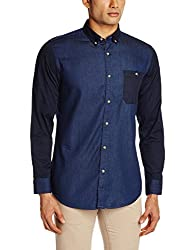 Adamo London Men's Casual Shirt (SHTADSU16026_Medium_Navy)