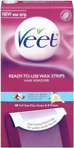 Veet Cold Wax Strips Leg and Body, 40-Count