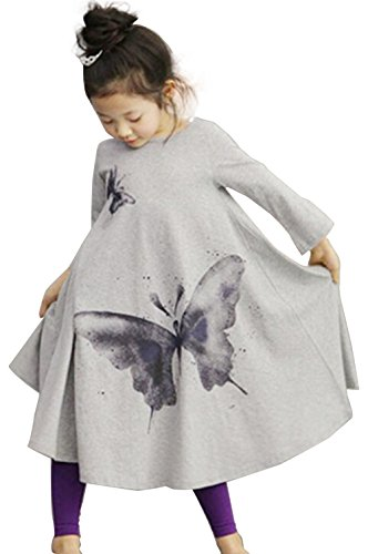 Dillian Girls Butterfly Print Dress ,110(4-5Y),Grey