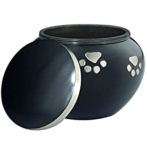 Meilinxu - Pet Funeral Urns for Dogs Ashes - Cremation Urns for Cats Ashes - Hand Made in Brass - Attractive Display Burial Urn - Pet Memorial Baby Urn - Cremated Remains (Odyssey Paw Print Slate)