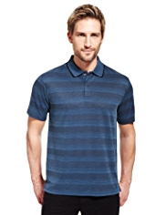 Blue Harbour Luxury Striped Polo Shirt with Modal